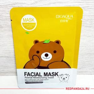 Тканевая маска с зеленым чаем Bioaqua (желтая мишка)