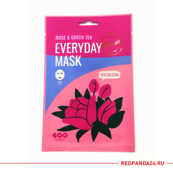 Тканевая маска с розой и зеленым чаем Dearboo