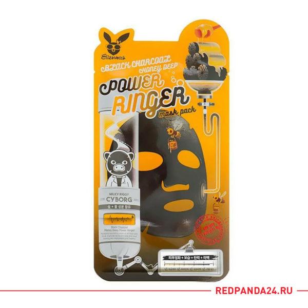Тканевая маска с углем и медом Elizavecca